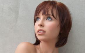 short hair, girl, redhead, face, looking up, blue eyes