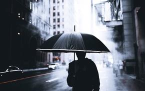 silhouette, cityscape, mist, Canada, rain, depth of field