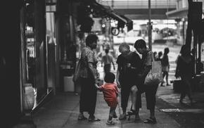 selective coloring, children, city, old people, urban, Hong Kong