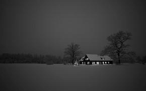 house, brown, snow, dark