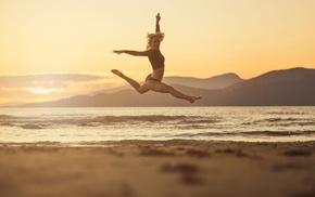 beach, jumping, girl