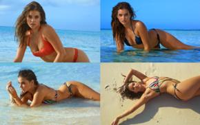 wet body, Barbara Palvin, bent over, swimwear, bikini, girl
