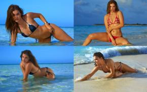 brunette, bent over, Barbara Palvin, model, beach, Sports Illustrated