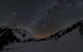 landscape, mountains, stars