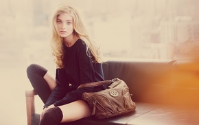 looking at viewer, Elsa Hosk, hazy, black clothing, knee, highs