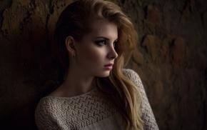 looking away, model, blue eyes, girl, Maxim Guselnikov, eyes
