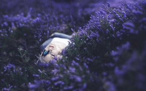 butterfly, girl, flowers, purple, lying on back