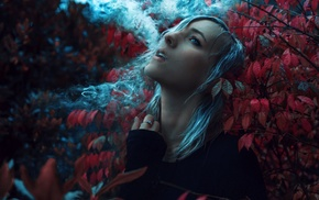 looking up, smoking, forest, girl, blue eyes, grey hair