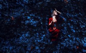 girl, red dress, leaves, lantern