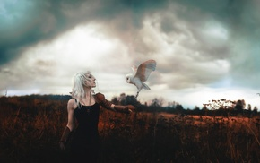 girl, white hair, owl
