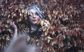 girl, grey hair, leaves, blue eyes