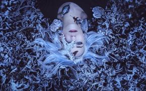 girl, white hair, blue eyes, winter, lying on back, leaves