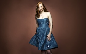actress, brown background, redhead, Deborah Ann Woll, dress