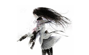 weapon, Mahou Shoujo Madoka Magica, Akemi Homura, blood, simple background
