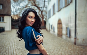 depth of field, looking at viewer, dress, model, face, long hair
