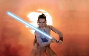 Rey from Star Wars, Jedi, Daisy Ridley, Star Wars, lightsaber