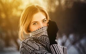 face, portrait, green eyes, blonde, depth of field, girl