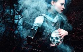 girl, skull, fantasy art, model