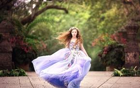 wind, dress, girl, model