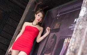 Asian, minidress, model, girl, strapless dress