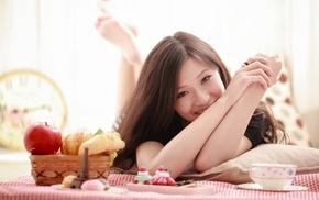 girl, smiling, breakfast, model, Asian