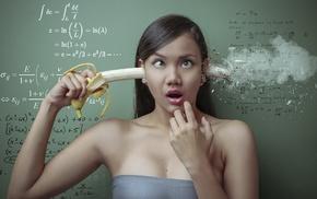 mathematics, Photoshop, formula, bananas, rolling eyes, suicide