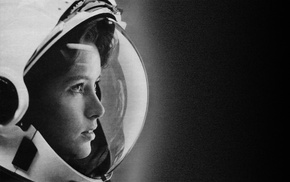 monochrome, astronaut, spacesuit, girl, Anna Lee Fisher