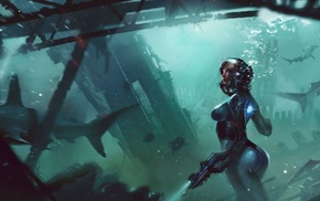 science fiction, underwater, shark, diving suits, digital art, futuristic