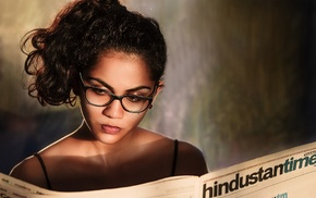 reading, girl with glasses, model, newspapers, girl