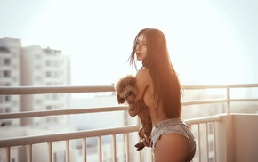 dog, topless, model, Asian, animals, girl