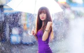 girl, Asian, umbrella, rain, model