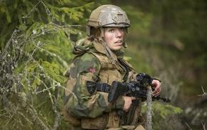 forest, girl, female soldier, soldier, HK 416, blonde