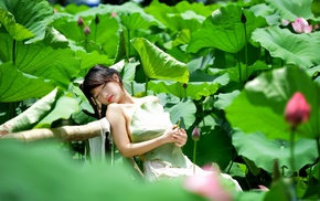 closed eyes, green, girl, model, Asian, plants