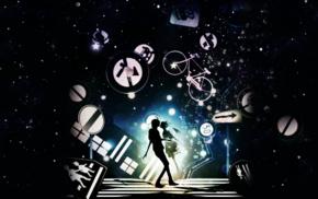 Monogatari Series, anime, Hachikuji Mayoi, signs, Araragi Koyomi, silhouette