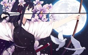 anime girls, anime, original characters, bow, bow and arrow