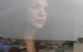 rain, building, portrait, glass, rooftops, looking away