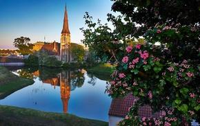 tower, house, Copenhagen, Denmark, reflection, church