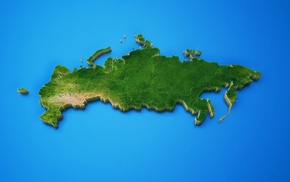 Russia, blue background, map, island, digital art, 3D