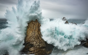 clouds, landscape, rock, water, waves, nature