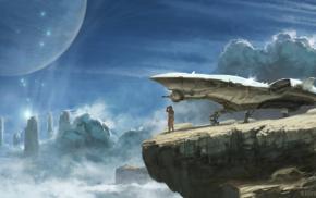 science fiction, planet, spaceship, explorer