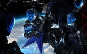 artwork, Earth, digital art, skull, guitar, space