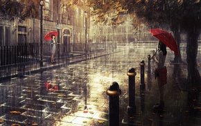 artwork, umbrella, London, rain, fall, original characters