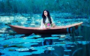 girl outdoors, boat, model, girl, fantasy art, Asian