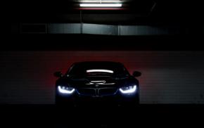 lights, vehicle, car, BMW i8, parking lot, electric car