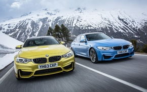 road, motion blur, car, BMW M4, vehicle