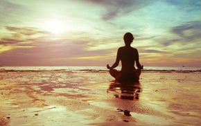 beach, water, sunlight, girl, meditation