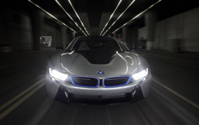 electric car, BMW i8, road, vehicle, car, motion blur