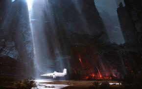 sunlight, Kuldar Leement, artwork, science fiction, fantasy art, spaceship
