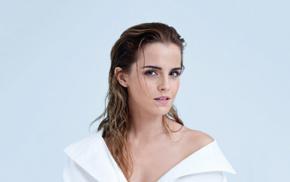 wet hair, celebrity, looking at viewer, long hair, Emma Watson, actress