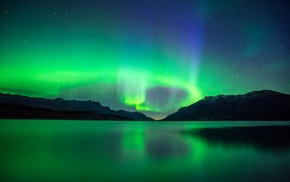 Alberta, nebula, night, lake, landscape, Canada